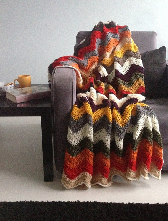 Falling for multicolor autumn - afghan crochet chevron blanket -> made to order