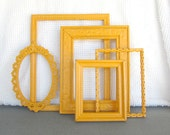 Marigold Yellow Painted Ornate Frames Set of 5 - Upcycled frames Boho Chic great for Gallery Wall or Bedroom Mustard Yellow Grey Gray decor