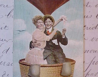 Darling Edwardian Era Postcard-Couple in Hot Air Balloon