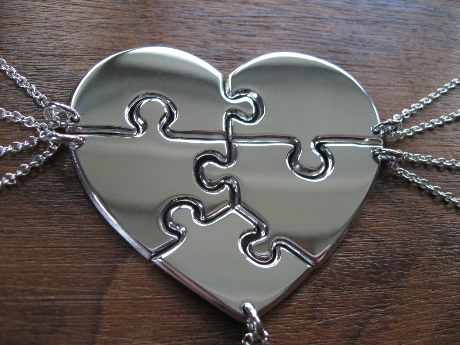 Five Piece Heart Puzzle Necklace Pendants By Gorjessjewellery