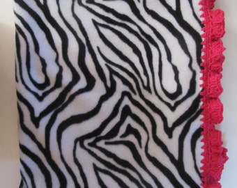 Zebra Print Fleece Blanket with Crocheted Border