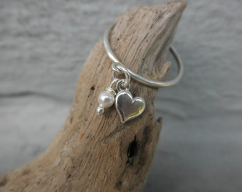 Heart charm ring sterling silver and a tiny freshwater pearl
