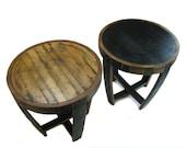 Bourbon Barrel End Table (Round, black, dark, rustic, natural)