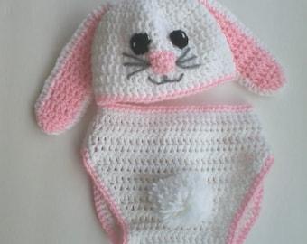 Lop Earred Bunny Baby Hat & Diaper Cover Set - Photo Prop *Newborn-12 mos.