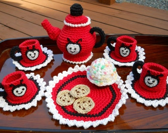 Ready to ship immediately,  lady bug tea set, lady bug tea party, tea set, crochet tea set, tea pot, cookies, tea cup,