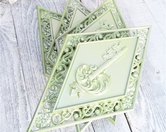 Shabby Chic Syroco Painted Shabby Chic Wall Hanging Diamonds, Set of 4