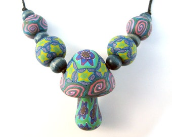 SALE Mushroom pendant necklace with handmade millefiori beads, flowers, stars and spiral patterns, handmade from polymer clay, flower power