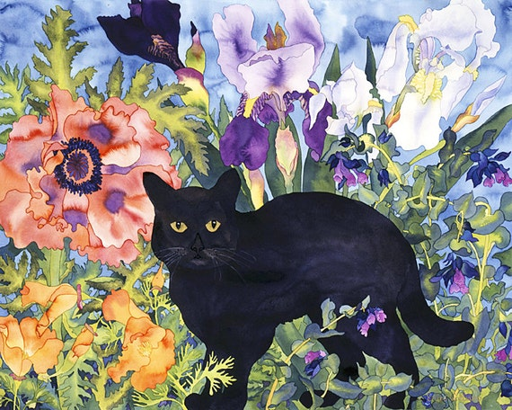 Cats in Flower Garden Watercolor, 12 Pack Fine Art Blank Greeting Cards, Assorted Lot