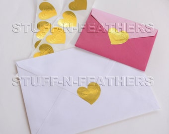 SALE - GOLD HEART sticker seals embossed metallic foil stickers, Envelope Seals, Invitation Seals, Wedding Seals, gift wrapping seal / D19