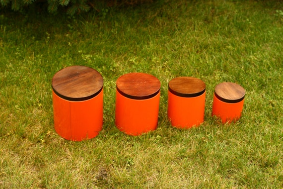 vintage orange canister set, round orange canisters, orange and brown decor