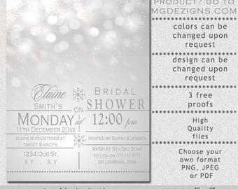 PRINTABLE Bridal Shower Invitation Template, Winter Bridal Shower Invitation Templates, Wedding Shower Invitation Template,Snowflakes Silver