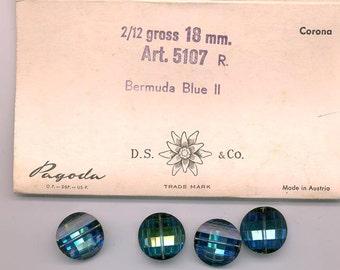 Four rarest-of-the-rare vintage Swarovski crystal pagoda beads: Art. 5107R - 18 mm - bermuda blue II