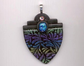 Dazzling polymer clay pendant - shimmering purple, green, blue and light gold design on black background - 60 x 47 mm