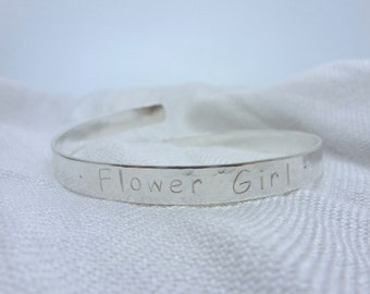 Personalised Childs Bracelet - Solid Sterling Silver 925 Flower Girl Bridesmaid Baby Bangle Handmade