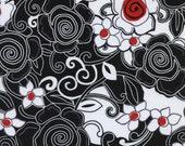 "25"" REMNANT - Timeless Treasures - Poppy Lane - Swirly Floral Black"