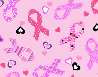 Windham Fabrics - Think Pink - Ribbons and Hearts - Choose Your Cut 1/2 or Full Yard