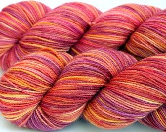 "Kettle Dyed Sock Yarn, Superwash Merino, Nylon and Stellina Fingering Weight, in ""Peruvian Lily"""