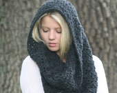 Crochet Cowl Scarf / THE PUMORI /  Textured Loop Shawl Hood Scarf Dark Gray Heather