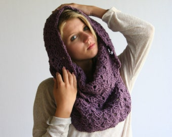 Ready to ship in Black Cowl Scarf Women's Crochet Snood Scarf / THE KENSINGTON / Dusty Purple