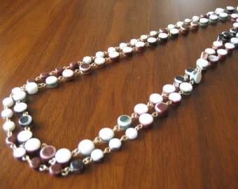 Vintage bead necklace.  Long necklace.