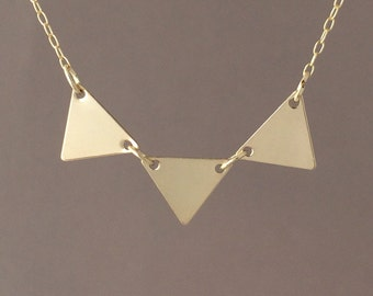 Three Connected Gold Fill Triangle Necklace also in Silver and Rose Gold Fill