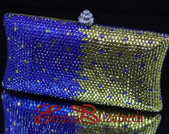 Multi-Color Ombre Pattern, Luxury Crystal Clutch Wedding, Party