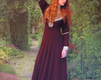 Vintage heavily embellished gown / Indian Princess jewelled beaded maxi dress / medieval Renaissance maiden / brown ethnic boho gypsy robe