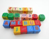 Vintage Plastic Rattle Blocks Mid Century Childrens Toy Rattle Animal Letter