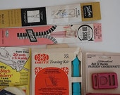 Vintage Sewing Supplies, Mid Century Pink Plastic Belt Buckle, Sewing Materials For MOM, Seamless Trim, Dritz Tracing Kit