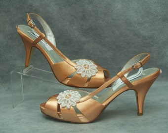 Peach Wedding Shoes - Peach Orange Bridal Shoes - Bridal Peach shoes mid heel, open peep toe, slingback, Prom, Bridesmaids,peaches and creme