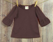 Thanksging bubble tunic, Fall applique top, girl brown shirt, thanksgiving baby outfit, fall brother sister, thanksgiving monogram