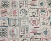 A Fat Quarter of Kawaii Japanese Cotton Linen Fabric -  Cafe Combo