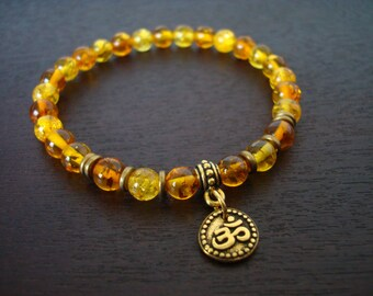 Baltic Amber Shakti Mala Bracelet - Baltic Amber & Gold or Silver Om Mala Bracelet - Prayer Beads, Yoga, Buddhist, Meditation, Jewelry