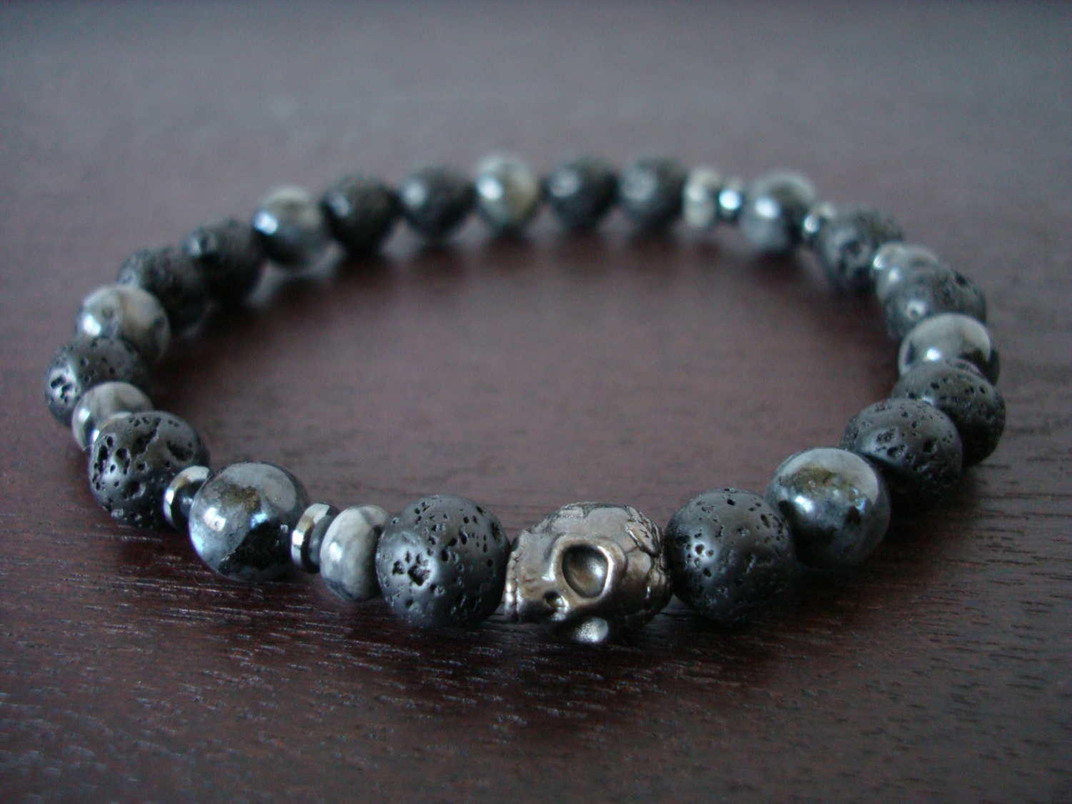 Men's Black Moonstone Mala Bracelet // Lava Rock