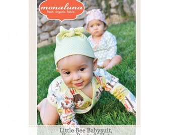 Little Bee Knit Babysuit, Yoga Pants and Knotted Hat SEWING PATTERN - Baby Clothes Patterns - Uses Urban Patch Organic Cotton Fabrics