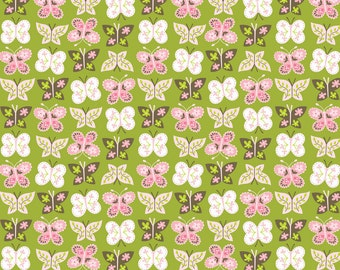 Animal Parade - Flutter in Green - Ana Davis for Blend Fabrics - 1/2 Yard