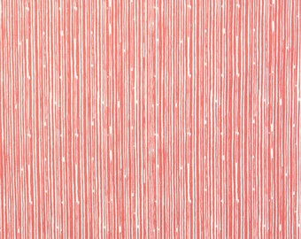 "Premier Prints Scribble in Coral/Slub - Home Dec Fabric - 1/2 yard, Additional Available - 54"" wide"