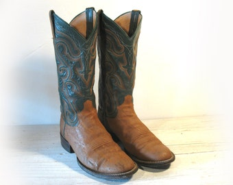 Vintage Cowboy Boots, Panhandle Slim Green & Tan All Leather and Exotic, Men's size 8.5 D / Women 10