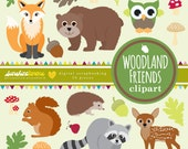 Woodland Friends Clipart - Woodland Creatures Clipart - Woodland Animals Clipart - Clipart set of 20 - COMMERCIAL USE Read Terms Below