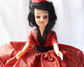 Doll from Spain, Spanish Doll in Red Gown, Dolls From Around the World, Doll in Costume