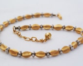 Necklace - Trifari 1960s Two tone silver gold demi parure matching bracelet