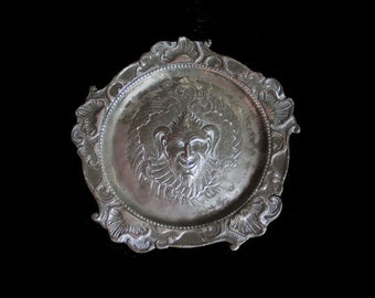 Antique Victorian Gothic Pewter Demon Drinks Tray, Tarot Salver, Satyr, Devil, Goat Man, Wicca, Capricorn, Occult, Goth Curio, Home Decor