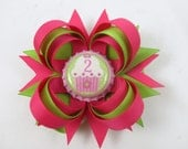 Birthday Hair Bow - My First Birthday - 1st 2nd 3rd 4th Birthday Hair Bow - Headband Options - Hot Pink and Green Bow  - YOU PICK BOTTLECAP