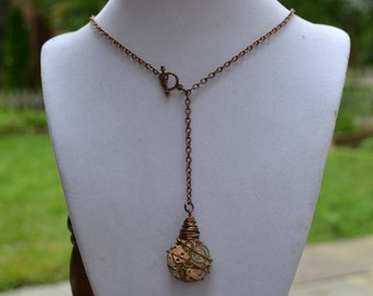 Reversible steampunk necklace with vintage watch movement - Wire wrapped