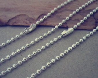 100pcs  1.5mm Silver color ball necklace chain with matching connector 30inch