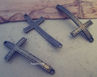 10pcs antique bronze Cross connector pendant charm 25mmx53mm