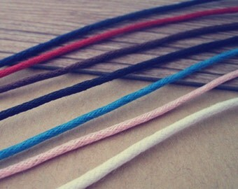 30pcs  17-19 inch  1.5mm adjustable Mix Color (7color) waxed cotton necklace cord with lobster clasp