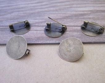 30pcs 15mm antique bronze Brooch Pin Backings