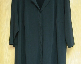 CLEARANCE  womens black top . . .  button placket front . .  3/4 sleeves . . .   gently worn