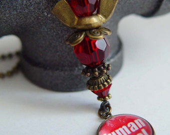 Human Angel 911 Tribute Angel Necklace, Red & Antique Bronze Wing Nut Never Forget September 11th